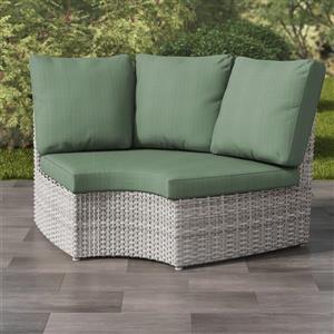 Blended Grey Wicker Corner Patio Chair - Sage Green - 71
