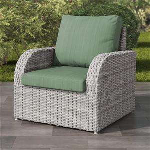 Blended Grey Resin Wicker Patio Chair - Sage Green - 32