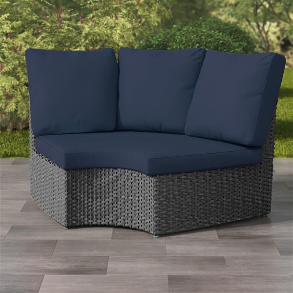 "CorLiving Charcoal Grey Wicker Corner Patio Chair - Navy Blue - 71"""