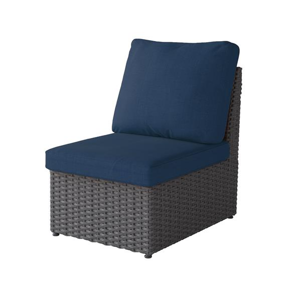 """CorLiving Charcoal Grey Wicker Armless Patio Chair - Navy Blue - 24"""""""