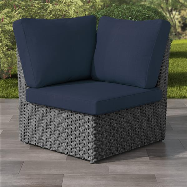 CorLiving Charcoal Grey Wicker Corner Patio Chair - Navy Blue - 34""
