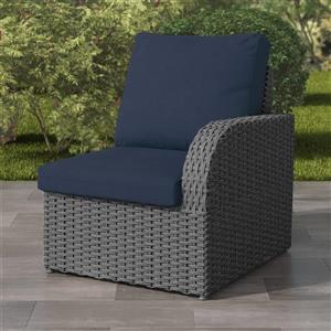 """CorLiving Charcoal Grey Wicker Right Arm Patio Chair - Navy - 29"""""""