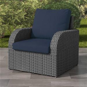 """CorLiving Charcoal Grey Resin Wicker Patio Chair - Navy Cushions - 32"""""""