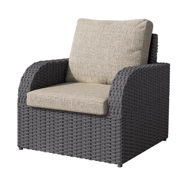 """CorLiving Charcoal Grey Resin Wicker Patio Chair - Grey Cushions - 32"""""""