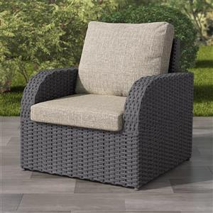 CorLiving Charcoal Grey Resin Wicker Patio Chair - Grey Cushions - 32""