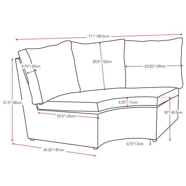 "CorLiving Charcoal Grey Resin Wicker Corner Patio Chair - Grey - 71"""
