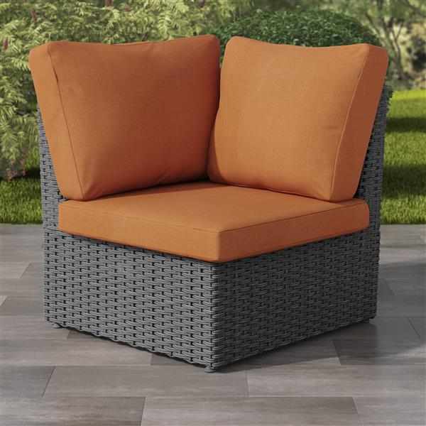 Charcoal Grey Resin Wicker Corner Patio Chair - Orange - 34""