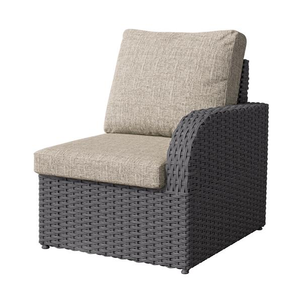 """CorLiving Charcoal Grey Wicker Right Arm Patio Chair - Grey - 29"""""""