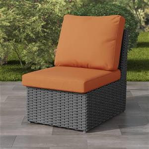CorLiving Charcoal Grey Wicker Armless Patio Chair - Orange - 24""