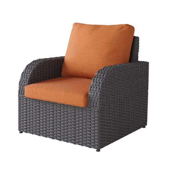 Charcoal Grey Resin Wicker Patio Chair - Orange - 32""