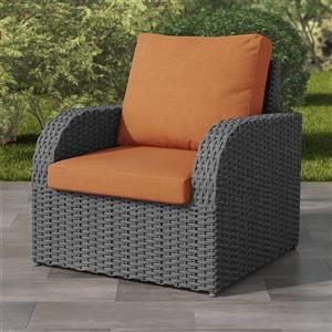 Charcoal Grey Resin Wicker Patio Chair - Orange - 32