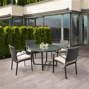 CorLiving Rattan Patio Dining Set- Charcoal Grey/Beige Cushions - 5 pc