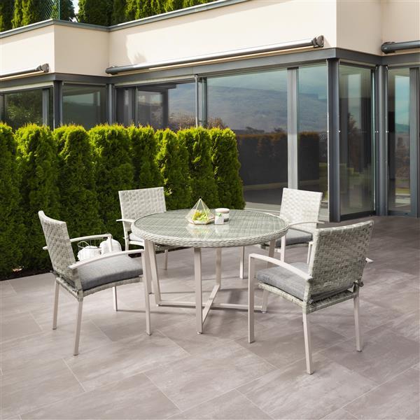 Ensemble à dîner pour patio en osier,  gris clairs, 5mcx