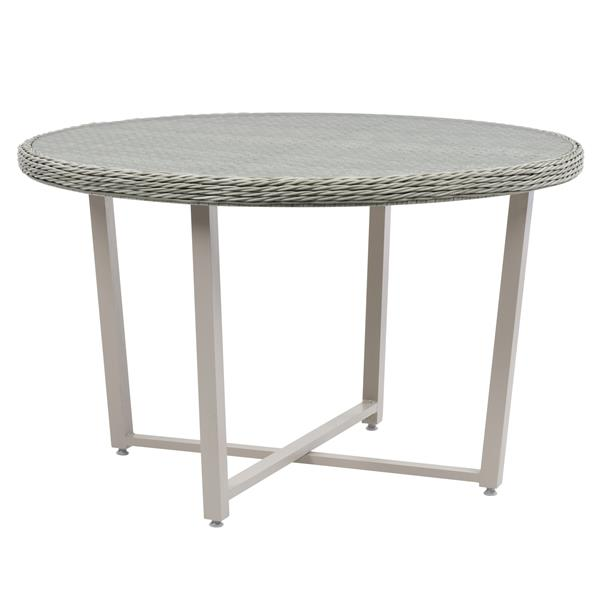 """CorLiving Rattan Patio Dining Table - Blended Grey - 48""""x48"""""""