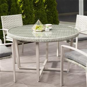 "CorLiving Rattan Patio Dining Table - Blended Grey - 48""x48"""