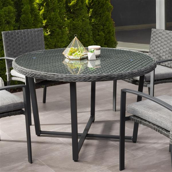 CorLiving Rattan Patio Dining Table - Distressed Charcoal Grey - 48""