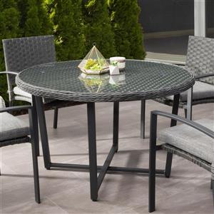 Table de patio en osier de résine, charbon délavé, 48