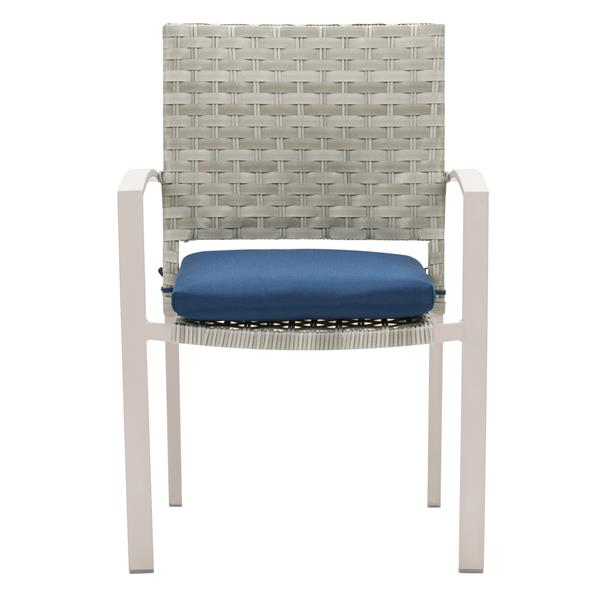 CorLiving Rattan Patio Dining Chairs - Grey/Blue Cushions - Set of 4