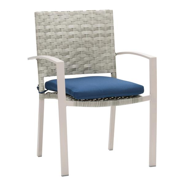 Remarkable Corliving Rattan Patio Dining Chairs Grey Blue Cushions Download Free Architecture Designs Aeocymadebymaigaardcom