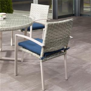 Chaises de patio en osier, gris/coussins bleu, 4 mcx