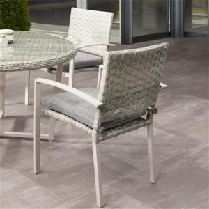 CorLiving Rattan Patio Dining Chairs - Grey/Grey Cushions - Set of 4