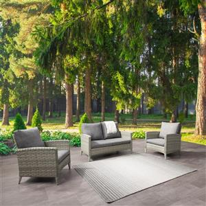 Rattan Wicker Loveseat and Chair Patio Set, Grey Cushions