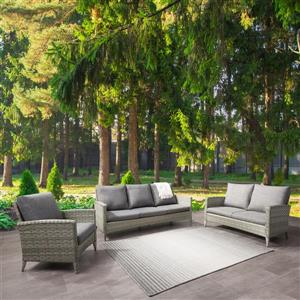 Rattan Conversation Patio Set - Grey Cushions - 3pc