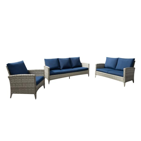 Rattan Conversation Patio Set - Navy Blue Cushions - 3pc