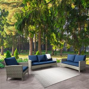 CorLiving Rattan Conversation Patio Set - Navy Blue Cushions - 3pc