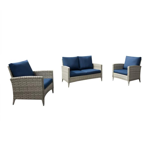 CorLiving Rattan Loveseat and Chair Patio Set - Blue Cushions
