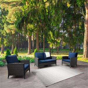 Rattan Loveseat and Chair Patio Set - Blue Cushions