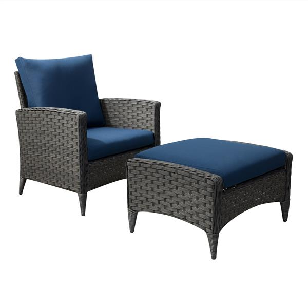 Rattan Chair and Stool Patio Set - Blue Cushions - 2pc