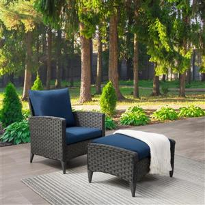 CorLiving Rattan Chair and Stool Patio Set - Blue Cushions - 2pc