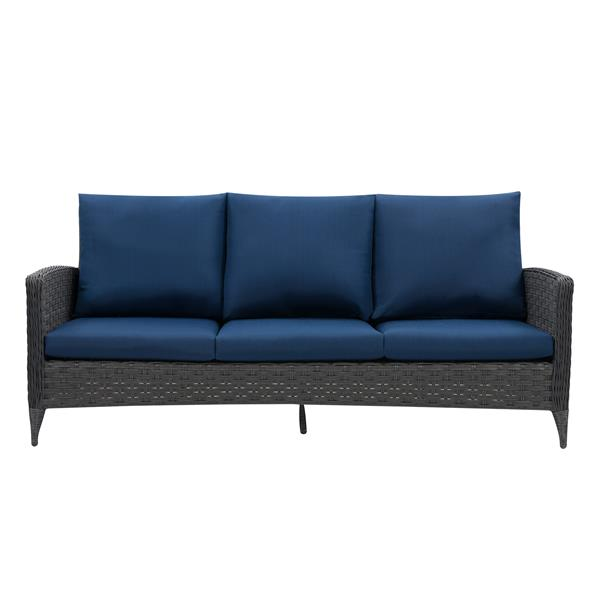 CorLiving Rattan Sofa and Loveseat Patio Set- Blue Cushions - 4pc