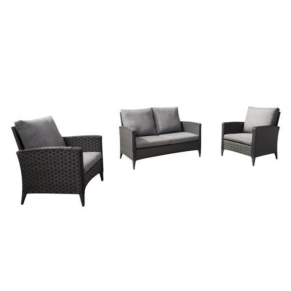 Ensemble causeuse et fauteuil de patios, coussins gris