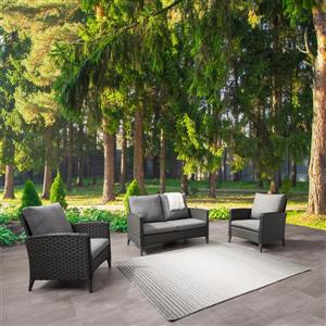 CorLiving Rattan Loveseat and Chair Patio Set - Grey Cushions