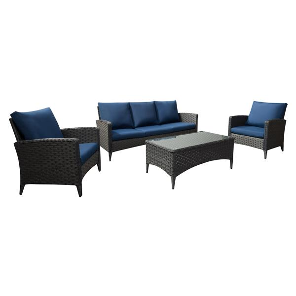 CorLiving Rattan Sofa and Chair Patio Set, Blue Cushions - 4pc