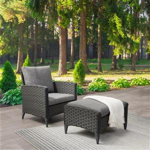 CorLiving Rattan Chair and Stool Patio Set - Grey Cushions - 2pc