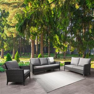 CorLiving Rattan Conversation Patio Set - Grey Cushions - 3pc