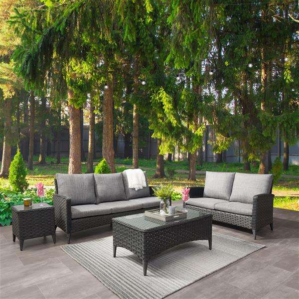 CorLiving Rattan Wicker Sofa and Loveseat Patio Set - Grey Cushions