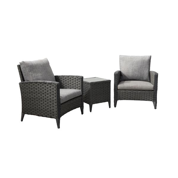 CorLiving Rattan Chair Patio Set with Grey Cushions - 3pc