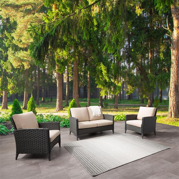 CorLiving Rattan Loveseat and Chair Patio Set- Beige Cushions