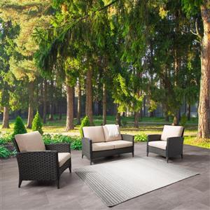 Ensemble causeuse et fauteuil de patios, coussins beiges