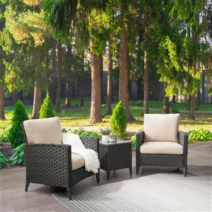 Ensemble fauteuil de patios en osier, coussins beiges, 3 mcx