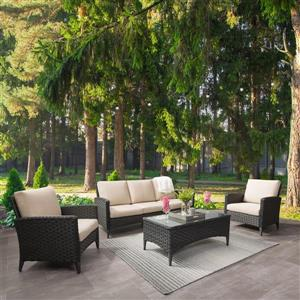 CorLiving Rattan Sofa and Chair Patio Set- Beige Cushions - 4pc