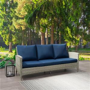 CorLiving Rattan Patio Sofa - Blended Grey / Blue Cushions - 3 places