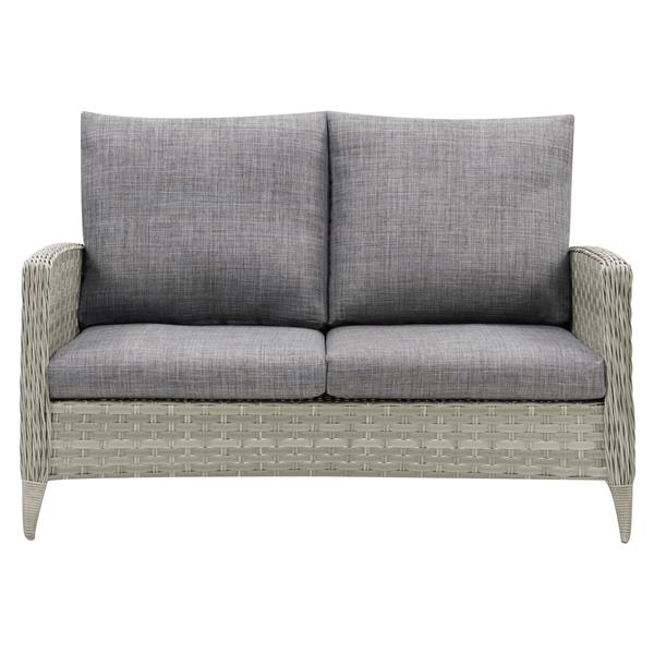 Rattan Patio Loveseat - Blended Grey /Grey Cushions - 53""