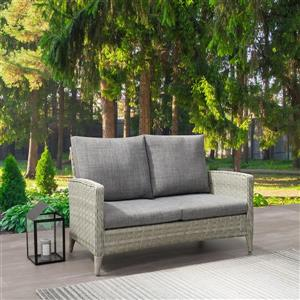 """CorLiving Rattan Patio Loveseat - Blended Grey /Grey Cushions - 53"""""""