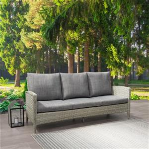 CorLiving Rattan Patio Sofa - Blended Grey / Grey Cushions - 3 places