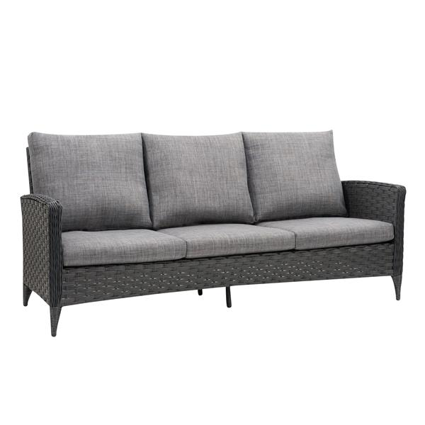 Rattan Patio Sofa - Charcoal Grey / Grey Cushions - 76""